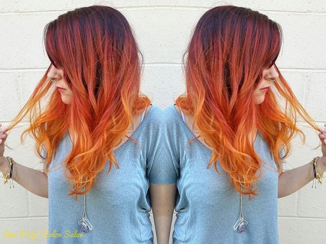 Want more of the fire goddess__Check out my Facebook page _revitupcolorsalon to see the before pictu