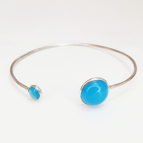 BLUE CHALCEDONY STERLING SILVER BANGLE