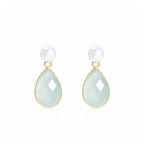 AQUA CHALCEDONY DROP EARRINGS WITH FRESHWATER PEARL