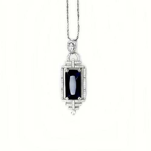 SAPPHIRE QUARTZ WITH CUBIC ZIRCONIA STERLING SILVER NECKLACE