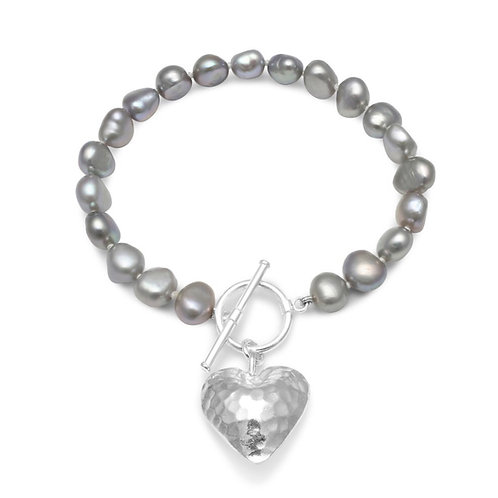 FRESHWATER GREY POTATO PEARL BRACELET WITH SILVER PUFFED HAMMERED HEART CHARM