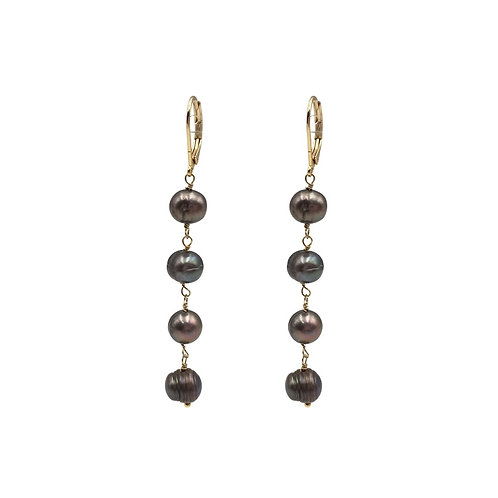 CULTURED FRESHWATER PEARL LONG EARRINGS WITH GOLD PLATED HOOP