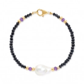FACETED SPINEL BRACELET WITH LARGE FIREBALL & 9CT GOLD BEANS AND AMETHYST