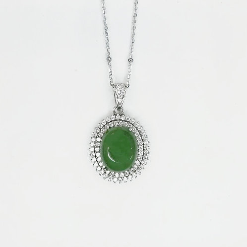 GREEN JADE WITH CUBIC ZIRCONIA STERLING SILVER NECKLACE