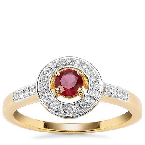 RUBY WITH WHITE TOPAZ GOLD VERMEIL RING
