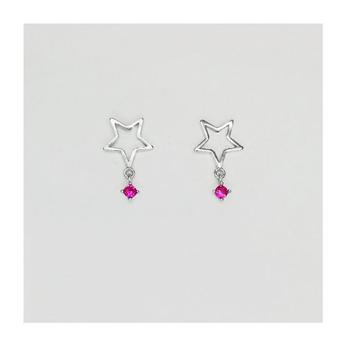 STAR STERLING SILVER EARRINGS WITH PINK CUBIC ZIRCONIA