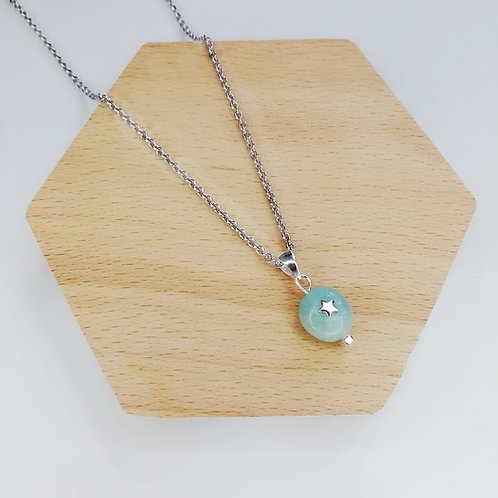 AMAZONITE WITH STAR NECKLACE IN STERLING SILVER