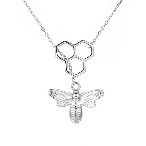 HONEYCOMB BEE STERLING SILVER NECKLACE