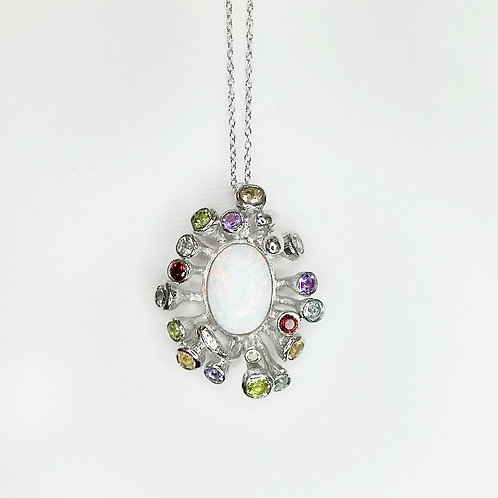 OPAL GARLAND STERLING SILVER NECKLACE WITH MULTICOLOUR GEMSTONES
