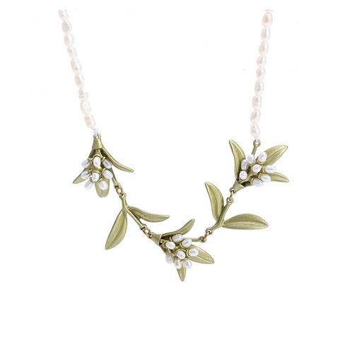 OLIVE BRANCH NECKLACE WITH FRESHWATER RICE PEARL