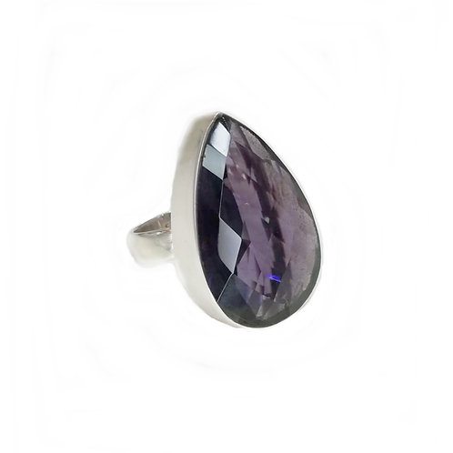 LARGE AMETHYST PEAR SHAPED STERLING SILVER RING