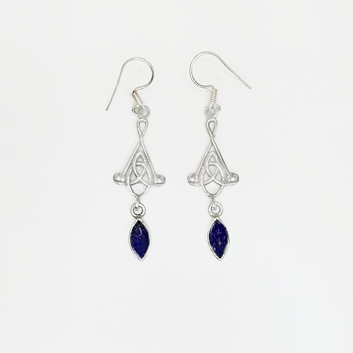 CELTIC KNOT HANGING EARRING WITH LAPIS LAZULI