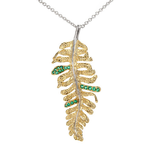 GOLD VERMEIL FERN LEAF NECKLACE WITH GREEN NANO SPINEL