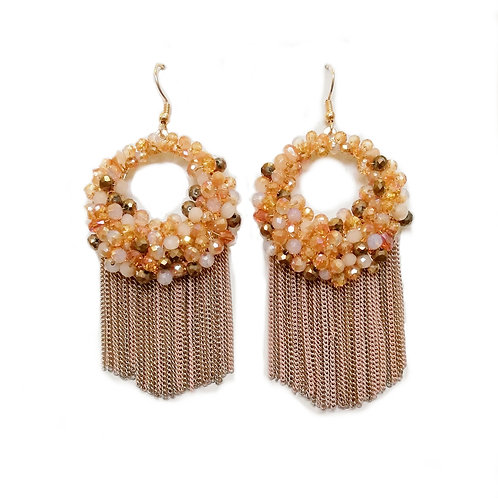 TASSEL BEADED CRYSTAL EARRINGS