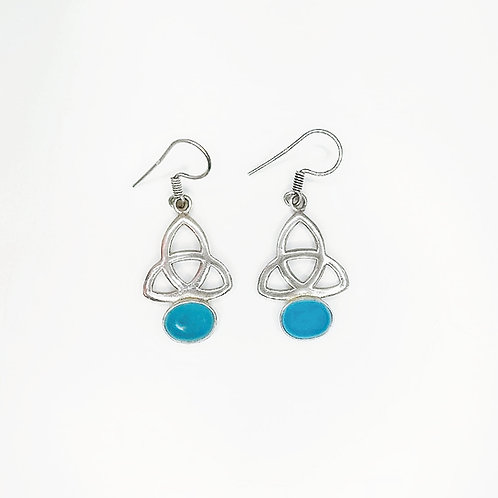 CELTIC TRINITY KNOT EARRINGS WITH CHALCEDONY