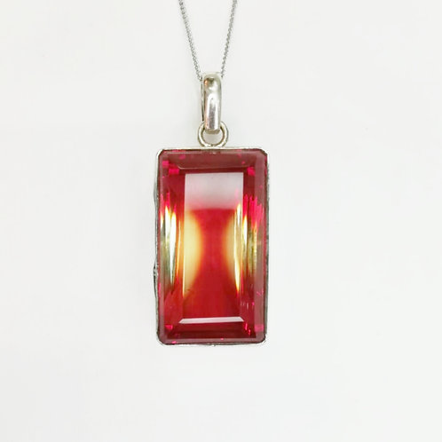LARGE GARNET COCKTAIL STERLING SILVER NECKLACE