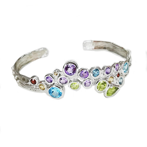 MULTICOLOUR GEMSTONES STERLING SILVER BANGLE