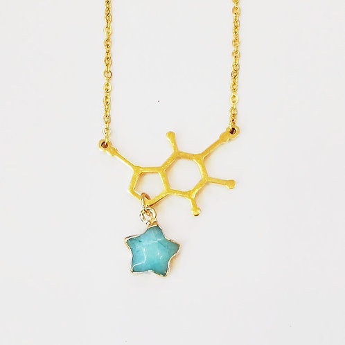 GOLD-PLATED DOPAMINE NECKLACE WITH TURQUOISE STAR