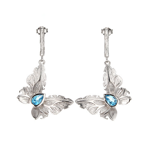 DETAILED SILVER BUTTERFLY EARRINGS WITH LONDON BLUE TOPAZ
