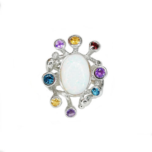 OPAL GARLAND SILVER RING WITH MULTICOLOUR GEMSTONES