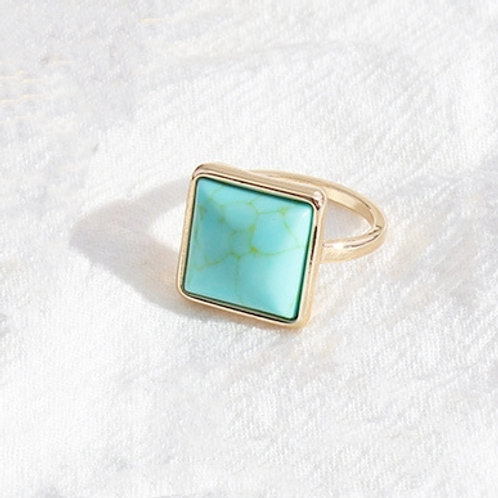 SQUARE BLUE TURQUOISE GOLD PLATED RING