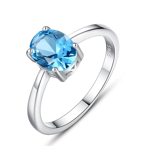 BLUE TOPAZ QUARTZ RING IN STERLING SILVER