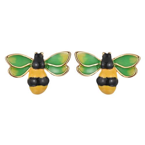 ENAMEL BEE GOLD PLATED STERLING SILVER STUD EARRINGS