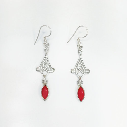 CELTIC KNOT HANGING EARRING WITH RED CORAL