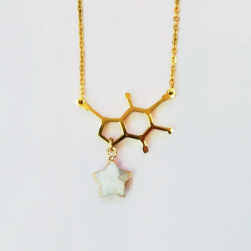 GOLD-PLATED DOPAMINE NECKLACE WITH WHITE HOWLITE STAR