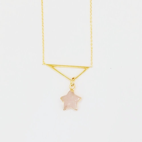 GOLD-PLATED TRIANGLE NECKLACE WITH ROSE QUARTZ STAR