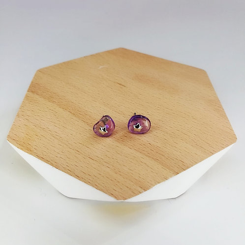 IRREGULAR SEMI-PRECIOUS AMETHYST WITH STAR STUD EARRINGS IN STERLING SILVER