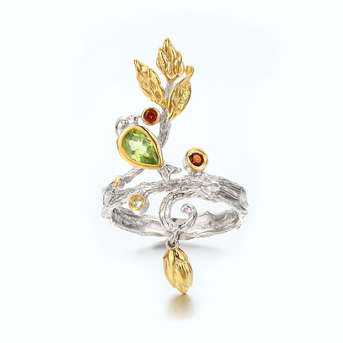 AUTUMN LEAVES DANGLING CHARM RING WITH PERIDOT & GARNET
