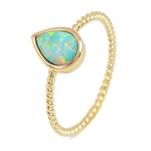 GOLD-PLATED SYNTHETIC WHITE OPAL PEAR RING