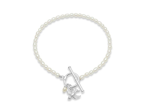 FRESHWATER PEARL BRACELET WITH SILVER SWALLOW CHARM