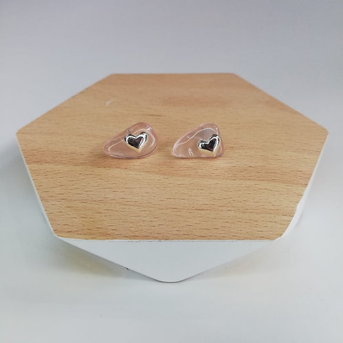 IRREGULAR ROSE QUARTZ HEART STUD EARRINGS IN STERLING SILVER