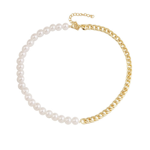 GOLD-PLATED CHAIN AND PEARL MIX NECKLACE