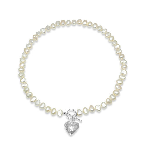 FRESHWATER POTATO PEARL NECKLACE WITH SILVER PUFFED HAMMERED HEART
