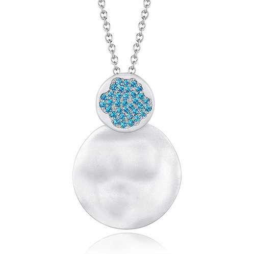 DISC DROP NECKLACE WITH NANO TIFFANY BLUE SAPPHIRE IN STERLING SILVER
