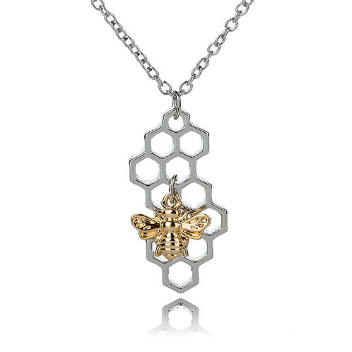 BEE ON HONEYCOMB VERTICAL NECKLACE