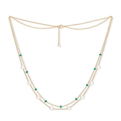 FINE NECKLACE WITH FRESHWATER PEARLS & EMERALD