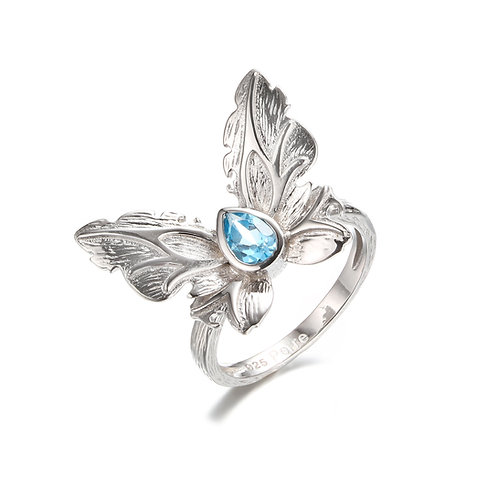 DETAILED SILVER BUTTERFLY RING WITH BLUE LONDON TOPAZ