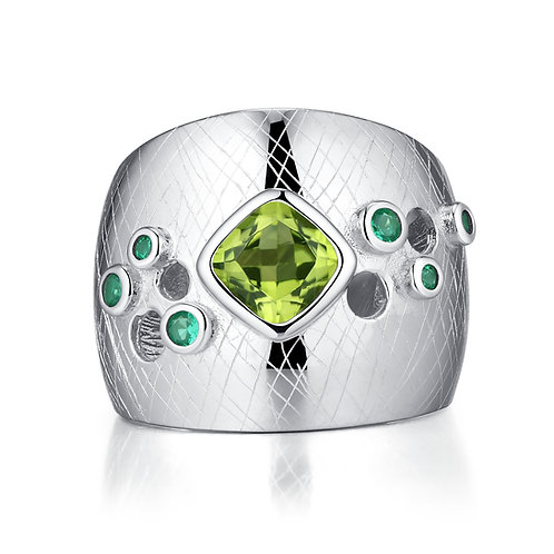 BRUSHED SILVER PERIDOT RING IN STERLING SILVER