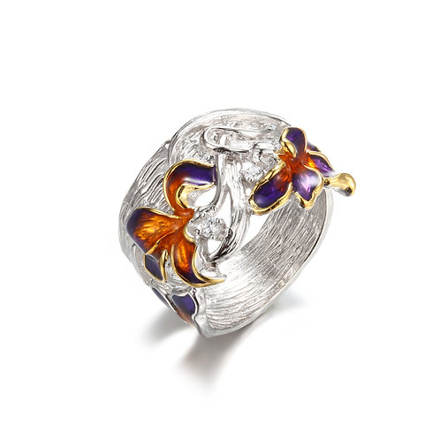 AUBURN AND VIOLET IRIS IN ENAMEL AND SILVER RING