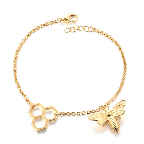 HONEYCOMB BEE 18ct GOLD PLATED STERLING SILVER BRACELET