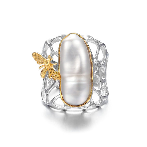 BEE ON HONEYCOMB WITH LARGE BAROQUE PEARL RING IN STERLING SILVER