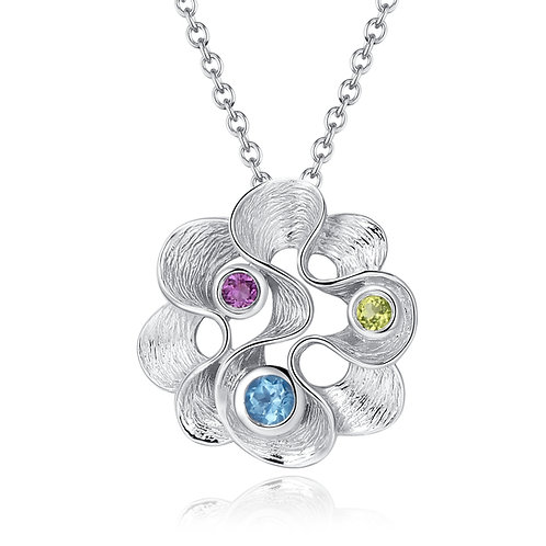 SILVER FLOWER NECKLACE WITH GEMSTONES