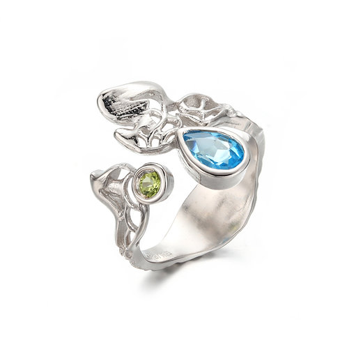 FOAMY WAVES STERLING SILVER OPEN RING WITH BLUE TOPAZ AND PERIDOT