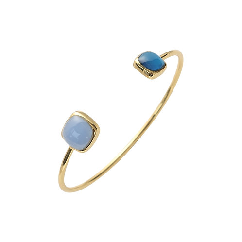 SQUARE DOUBLE STONE OPEN GOLD PLATED FASHION BANGLE