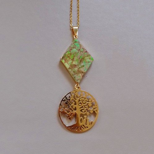 GREEN JASPER NECKLACE WITH TREE OF LIFE