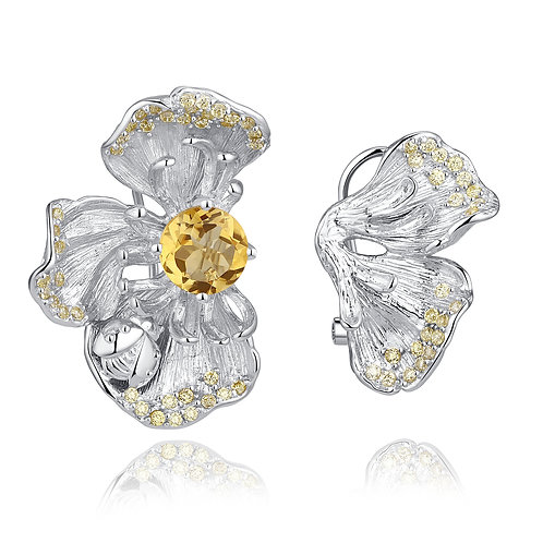 CHERRY BLOSSOM EARRINGS WITH CITRINE IN STERLING SILVER